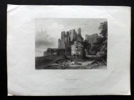 Payne 1847 Antique Print. Kenilworth from the Tilt Yard. Warwickshire